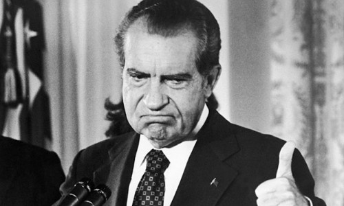 Richard Nixon, three days after resigning on 9 August 1974