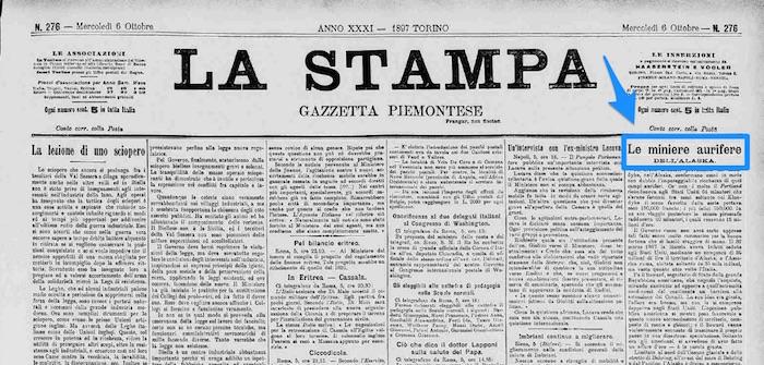 articolo 1897 La Stampa su corsa all'oro nel Klondike