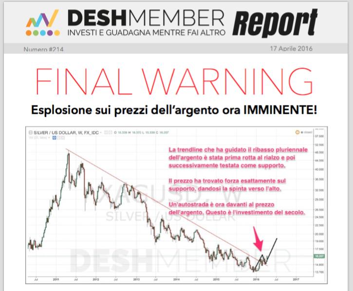Report DeshMember annuncia esplosione argento 17Aprile2016